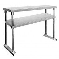 Double Tier Workbench Flat Feet Overshelf 750mm High - WBO2-1500