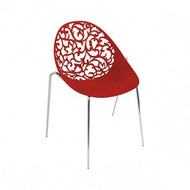 CX-PC002R Colourful Curved Outdoor Polypropylene Chair (Red)