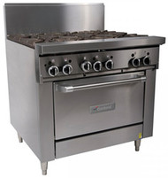 GARLAND GFE36-6C Restaurant Series Gas 6 Open Top Burners Convection Oven Electronic Ignition. Weekly Rental $109.00