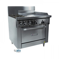 GARLAND GF36-2G24R. - Gas - 2 Open Top Burners, 600mm Griddle, 1 Standard Oven. Weekly Rental $77.00