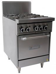 GARLAND GF24-4L Restaurant Series Gas 4 Open Top Burners Space Saver Oven. Weekly Rental $65.00