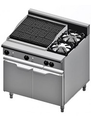 B & S Verro - VBT-SB2-CGR6 - Two Burners + 600 mm Char Broiler On Cabinet.  Weekly Rental $49.00