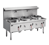 Cobra - CW3H-CCC - Gas Waterless Three Hole Wok With Chimney Burners. Weekly Rental $62.00
