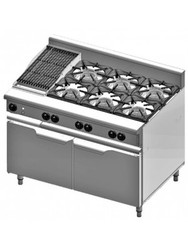 B & S Verro - VBT-SB6-CBR3 - Gas  Combination Six Open Burners & 300mm Char Broiler. Weekly Rental $56.00