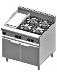 B & S - Verro -  VOV-SB4-GRP3 - Verro Gas Oven with 300mm Grill Plate & Four Open Burners. Weekly Rental $68.00