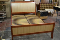 Sleigh Bed with foot, Redgum with Ash