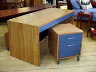 Ash desk with blue drawers