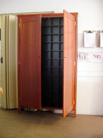 7x11 CD cabinet, Redgum and Black, Traditional with doors