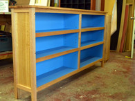 Bookcase, Stripey Ash with electric blue interior, double bay