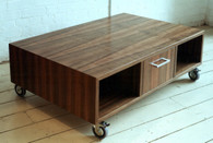 Queensland walnut cube with drawer