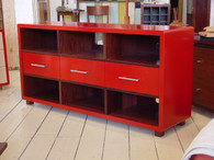 Red cabinet with jarrah interior