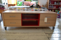 Maple and Red three column Hifi cabinet