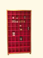 6x11 CD/dvd cabinet, Blackwood with red interior, barbi