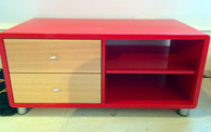 Hifi cube , two pack red with ash drawers, 2 column