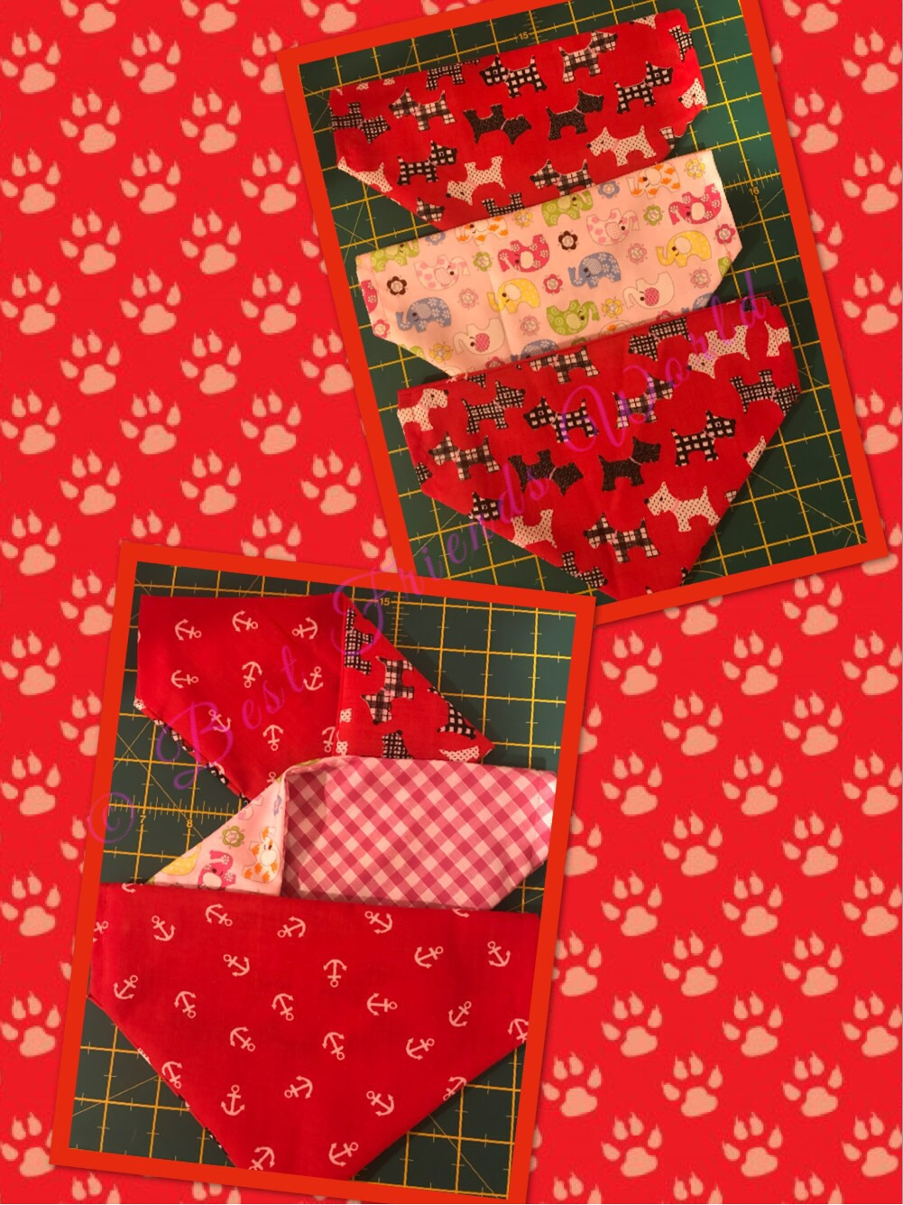 A selection of handmade doggie bandana's