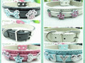 Rhinestone Dog Collar - Available in Black, Blue, Pink or White