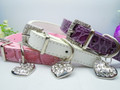 Leather Rhinestone Dog Collar - Available in Pink, Purple or White