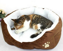 Cosy Velour Pet Bed with cute kitty