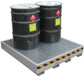 SECURALL DRUM SPILL STATIONS # DSS04 - Drum Spill Station w/ built-in sump, 9¼ x 51¼ x 56