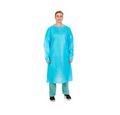 Cardinal Health Premium Over-The-Head Plastic Film Gown # 5210PG - Isolation Gown, Over-the-Head, Half-Back, Thumbhooks, Blue, Universal, 15/bx, 5 bx/cs