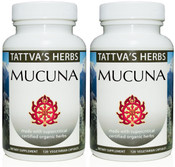 Organic Mucuna 15% L-Dopa, 15% Phytosterols  500 mg. 240 Vcaps (2 Pack - 120 ct./ea) - Full Spectrum Extract