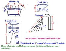 Bharatanatyam dance dress measurement for stitching