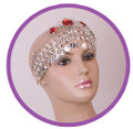 Crown head set with red stones for Belly dance M057