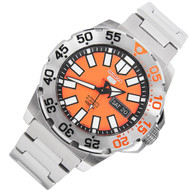 Seiko 5 Sports WR100m Monster Day Date Orange Dial Mens Watch SRP483K1