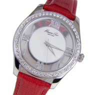 Kenneth Cole Transparent Dial Red Leather Quartz Watch KC2873