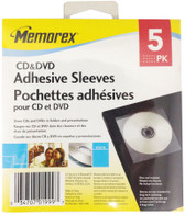 Memorex 5PK CD/DVD Adhesive Sleeves - 32021999