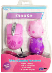 Cyber Gear Pink Daisy USB Optical Mouse With Changing Faceplates - 91897-WAL