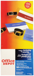 Office Depot - 50PK Luggage Tag Laminating Pouches - 7891059186