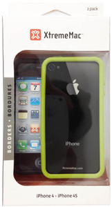 XtremeMac 2-PK Borders For iPhone 4/4s - Licorice / Avocado - IPP-BO4S-53