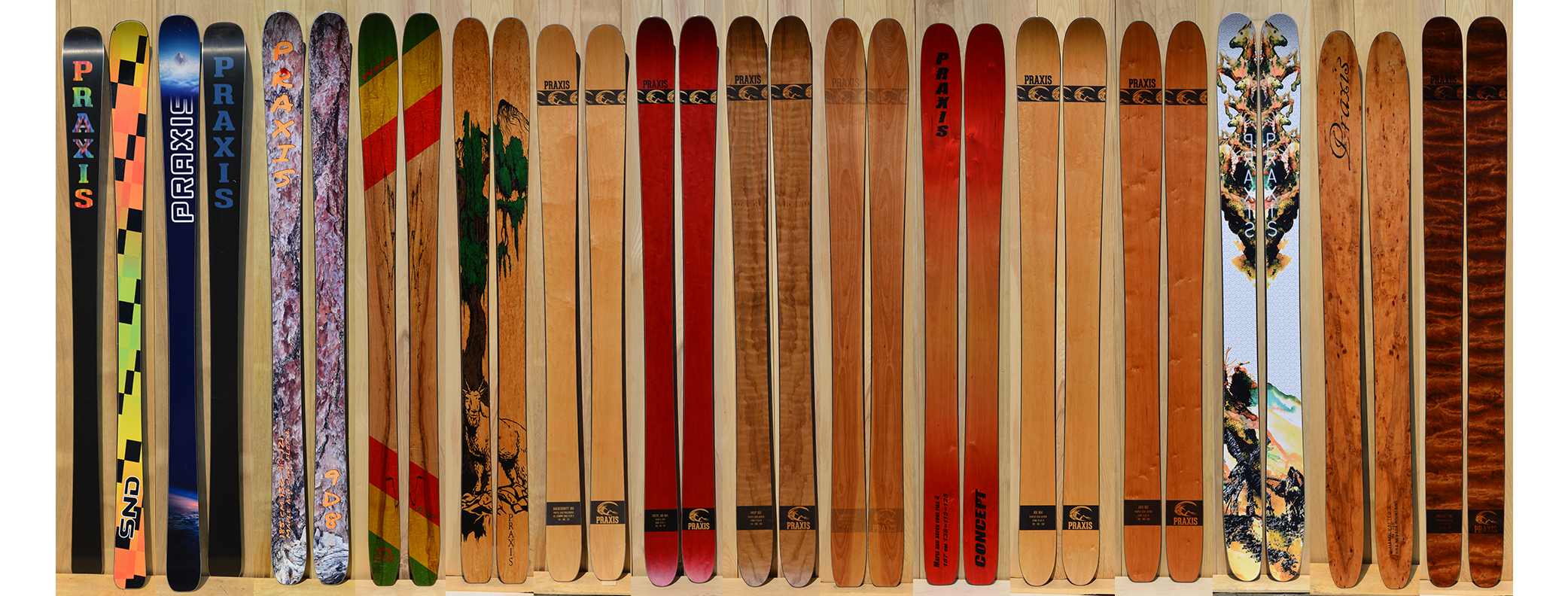 Handcrafted powder skis - all mountain skis- touring skis - big mountain skis - the latest collection of handmade skis from Praxis