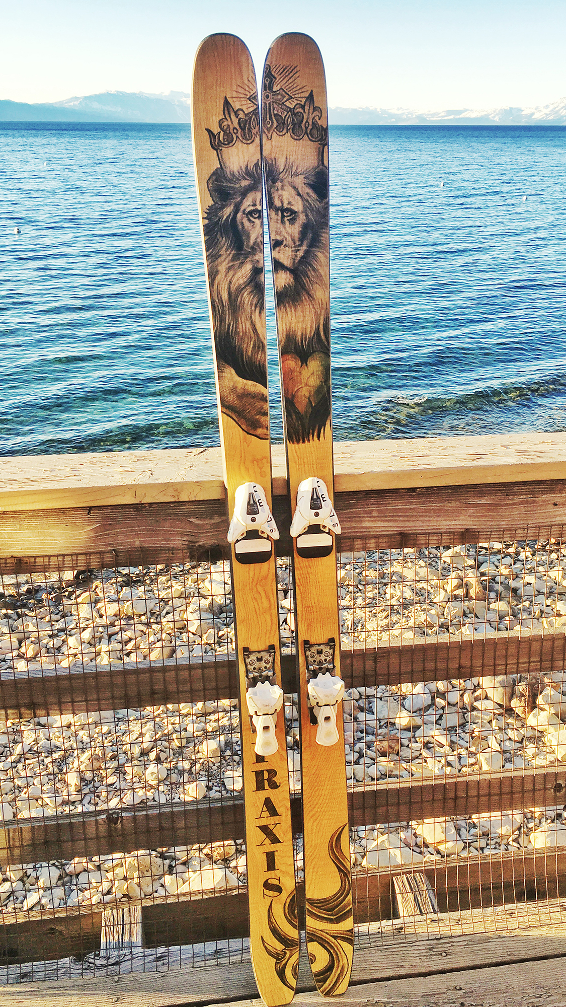 EXP ash veneer Jamaican lion Graphic art custom ski build