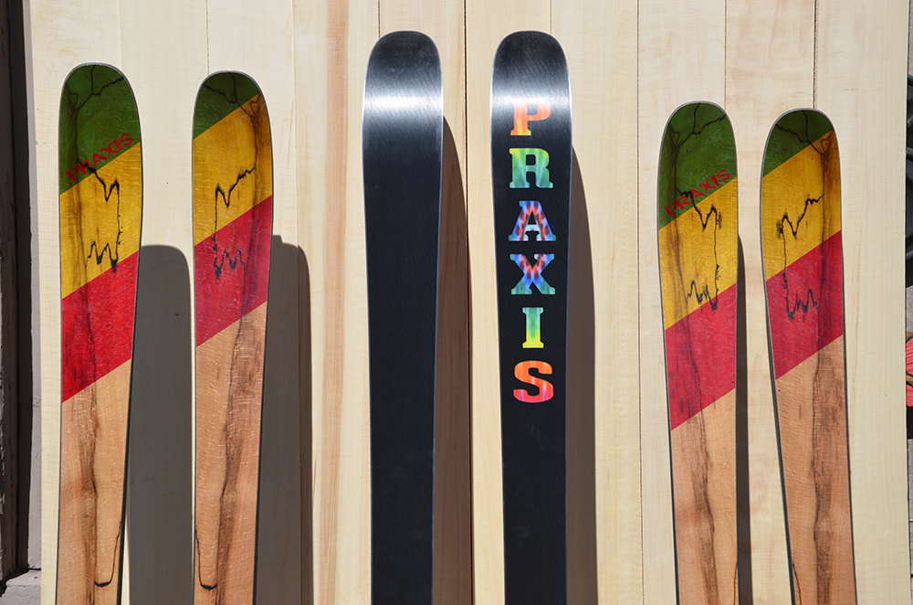 EXP touring skis with spalted beech wood veneer top