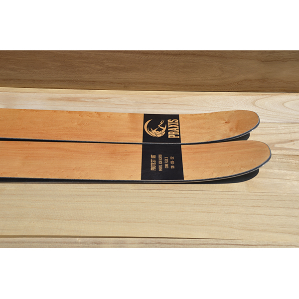 Protest powder ski tail profile - birds eye maple veneer