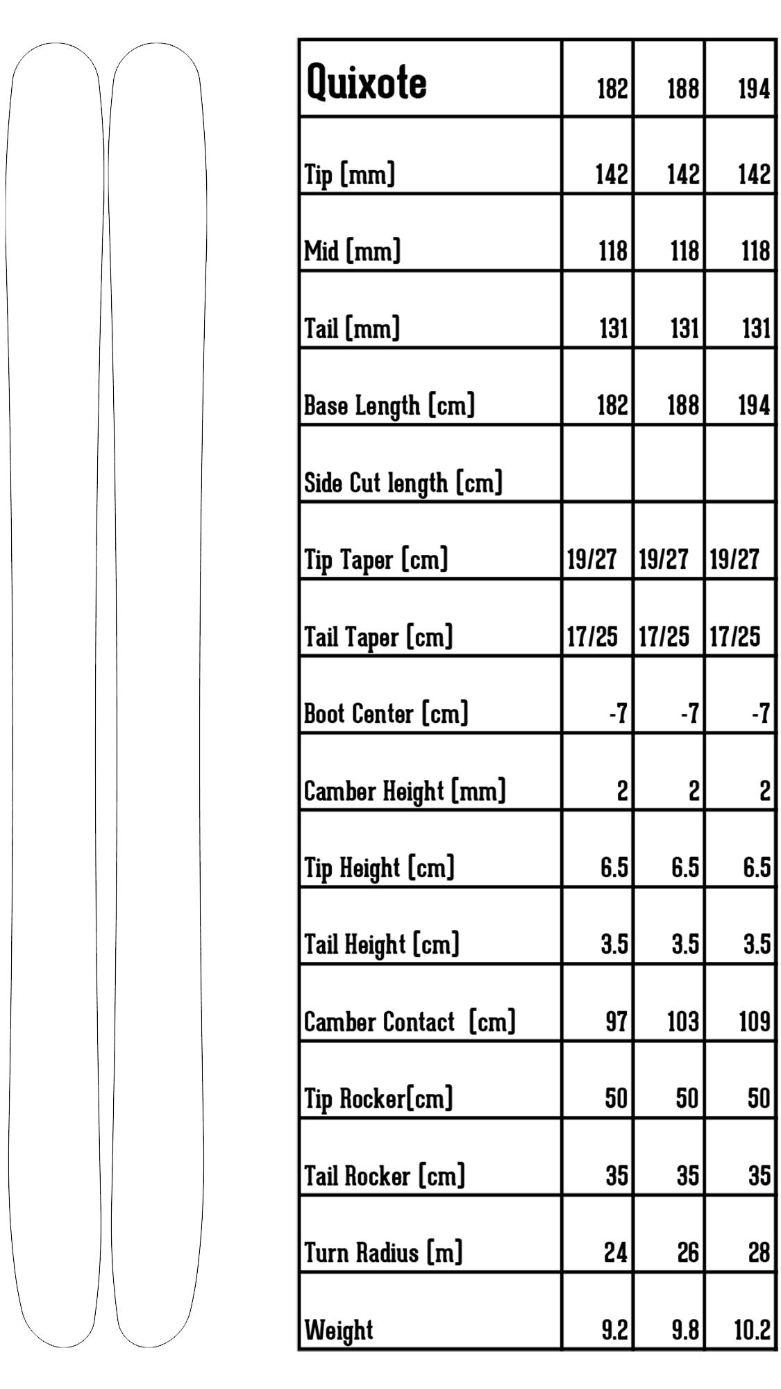 Quixote ski information spec sheet camber rocker tip tail height weight
