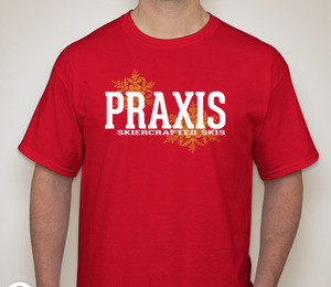 Praxis Skiercrafted Skis Red T-Shirt