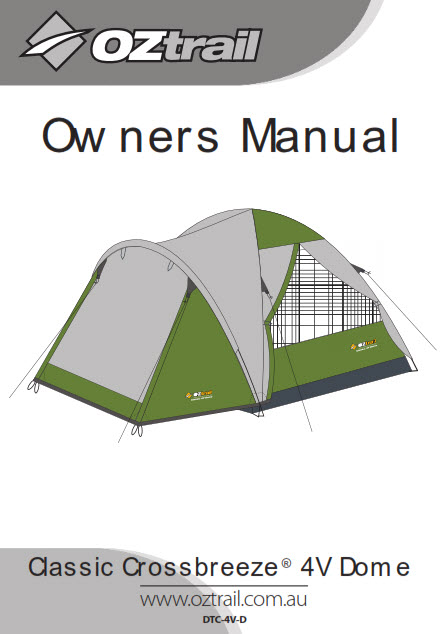 Owners Manual for Crossbreeze 4V Dome tent from OZtrail