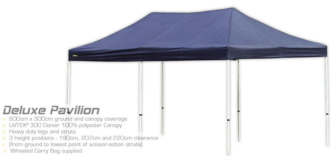 OZtrail Deluxe Pavilion 6m x 3m Gazebo Marquee Stand - (Angle View)