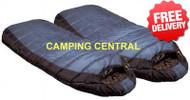 Caribee Tundra Duo -10 Celcius Winter Jumbo Twin Sleeping Bag - 2 pack (Angle View)