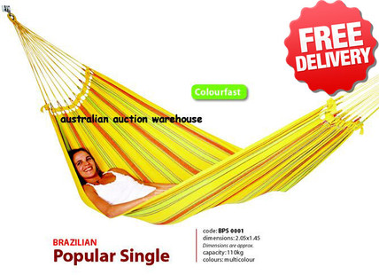 Brazilian Single Hammock Swing - 2.0 x 1.4m - With Free Shipping