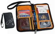 Caribee Travel Document Passport Wallet Bag - Front and Inside View