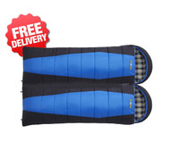 2 x OZtrail Alpine View -12 Celcius Twin Double Sleeping Bag - (Top View)