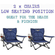 2 x OZtrail Festival Folding Camping Picnic Beach Chair - with Free Shipping