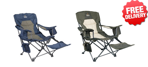 Oztrail Monarch Footrest Folding Camping Picnic Arm Chair