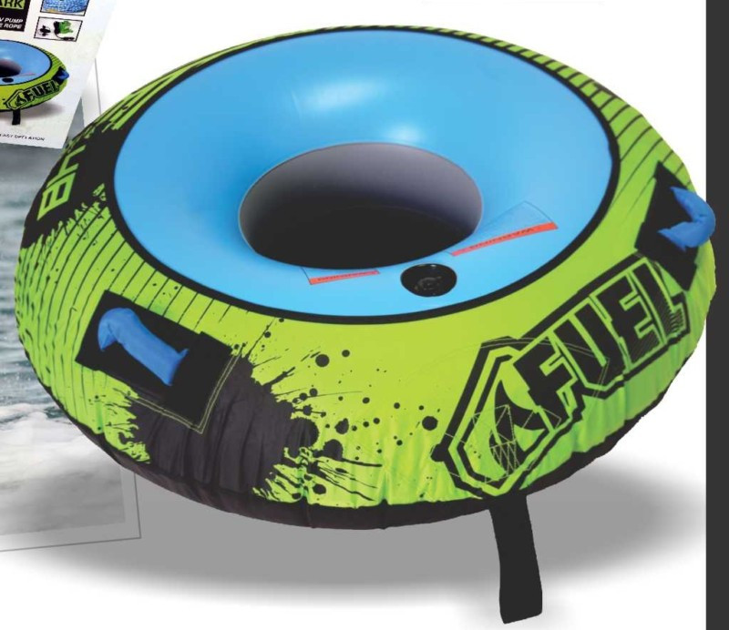 Fuel Spark (1 person) Ski Inflatable Round Tube Biscuit with Tow Rope and  Pump