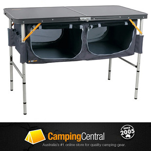 OZtrail Folding Camp Storage Table with Pantry for linen, cutlery, kitchen utensils and camping provision