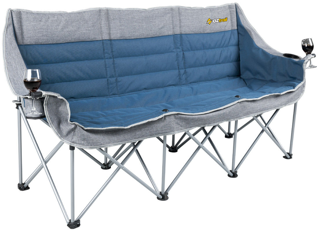 Oztrail 3 Person Galaxy Sofa Moon Chair Arms Picnic Camp Outdoor Seat Portable